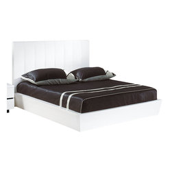 Global Furniture - Global Furniture USA Trinity Upholstered Platform Bed in White - Queen - The Trinity bedroom collection is in a class all by itself. It features a generously sized upholstered headboard with vertical line detailing, platform style bed and clean line case pieces finished in a glossy black. This is a must have for any bedroom.