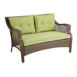 Ace Evert Inc. - Wicker Deep Seating Outdoor Loveseat with Green Cushion - Made using an all steel body with a brown finish for strength and a wicker design for elegant styling. Outdoor loveseat features wicker designed framing for unique styling that's perfect for outdoor use including patios, pool decks and more.