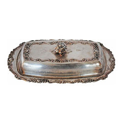 Butter Dish - Victorian style butter dish with beautiful floral acents. On the bottom is stamped 1883 FB Rogers Silver Co, 1096. Circa 1905