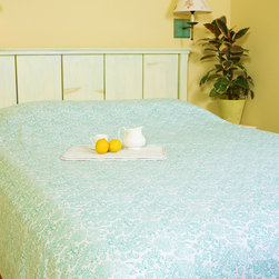 Patterned  Sheets - Seaside Savvy Beach Style bedspread,  a pure white sheet that is highlighted with beautiful teal, this bed covering is an aqua indulgence in classic cotton that you won't want to share.Hand Block Printed from Attiser