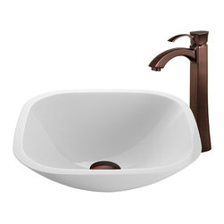 VIGO Industries - VIGO Square Shaped White Phoenix Stone Glass Vessel Sink, Oil Rubbed Bronze - The VIGO Square Shaped White Phoenix Stone Glass Vessel Sink with stylish Oil Rubbed Bronze Faucet brings a contemporary elegance to your home