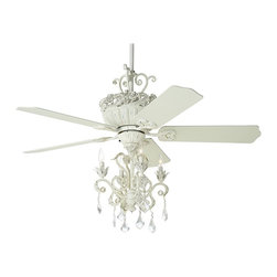 "Casa Vieja - Country - Cottage 52"" Casa Chic™ Antique White Chandelier Ceiling Fan - Elegant sophistication defines this ceiling fan from the Casa Vieja™ Chic Collection. An antique white finish motor is paired with matching blades and a chandelier light kit featuring decorative crystal droplets. Pull chain operation. Dual mountable. 4 1/2"" and 10"" downrods included. Antique white finish motor. Matching blades. 52"" blade span. 13 1/2 degree blade pitch. Lifetime motor warranty. Pull chain operation. Rubbed white integrated light kit. Includes four 40 watt candelabra bulbs. Chandelier style with decorative crystals. Includes 4 1/2"" and 10"" downrods. Minimum 9 feet ceiling required.  Antique white finish motor.  Matching blades.  52"" blade span.  13 1/2 degree blade pitch.  Lifetime motor warranty.  Pull chain operation.  Chandelier style light kit with decorative crystals.  Includes four 40 watt candelabra bulbs.  Light kit is 16 1/2"" high 15 3/4"" wide.   Includes 4 1/2"" and 10"" downrods.  Minimum 9 feet ceiling required.  Fan motor is 16 3/4"" high (without downrod)."