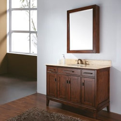 Avanity Madison 48-in. Tobacco Single Bathroom Vanity with Optional Mirror - The Avanity Madison 36-in. Tobacco Single Bathroom Vanity with Optional Mirror is so stunning, we couldn't decide which countertop to offer, so we'll let you choose. This piece's stone countertop is available in your choice of: beige marble, black granite, or white marble. Each pairs just as well as the next with the solid birch frame and tobacco finish. Two soft-close drawers and two soft-close doors are included in the design for a maximum of storage. Adjustable height levelers are included for uneven floors. This piece comes with an option of a 28- or 36-inch mirror (Dimensions: 28W x 2.2D x 33H inches; 36W x 2.2D x 33H inches respectively) with matching birch-and-tobacco finish, or no mirror at all.About Avanity CorporationAvanity's goal has always been to provide the public with the best products possible at the fairest prices. To this end, their customer service style is about listening to their customer, not just hearing them. Avanity is confident in their products, ensuring each of them has a one-year manufacturer's warranty. Avanity also takes note of increasing market trends to stay ahead of the game and provide the most cutting-edge products available.
