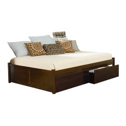 Atlantic Furniture - Atlantic Furniture Concord Flat Panel Wood Daybed in Antique Walnut - Atlantic Furniture - Daybeds - AP8123004 - The Concord is a contemporary daybed with a clean design andample selection of colors. The Concord can coordinate and adapt to anybedroom or any Atlantic Furniture case goods. Set it up as a daybed oras a more traditional platform bed.Add under bed drawers for additional storage or a trundle for extracompany. Perfected with Atlantic Furniture's high build Five Step Finishing Process onEco-friendly hardwood the Concord Daybed is an ideal addition to anybedroom.Features: