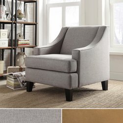 Inspire Q - INSPIRE Q Winslow Concave Arm Modern Accent Chair - The simple,sleek lines of this Winslow chair will add a classic look to any decor. High backed with low profile arms,microfiber or linen upholstery,and cherry or espresso-stained legs,this chair will fit well in a traditional or contemporary room.