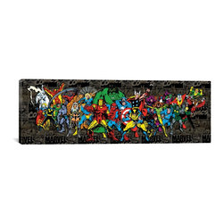 Marvel Comics Canvas Print, Character Lineup Comics Logo Panoramic - Museum-quality canvas print by Marvel gallery wrapped and ready for wall hanging with no additional framing required. The canvas print is remarkably bright in color and unrivaled in detail with quality ink that has been light-tested to last over 100 years!