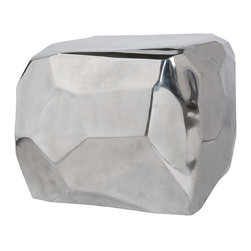 Four Hands - Marlow Diamond Cube Table - It's hip to be square when you accent your modern home with this unusual aluminum tale. With its rustic boulder shape juxtaposed against a high polish, it's bound to be a conversation starter wherever you set it.