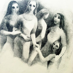"unknown - Consigned ""Young Women"" Original 60's Sketch - Original artist sketch on paper. Five women, reminiscent of Picasso's ""Les Desmoiselles D'Avignon"".  1960's. Easy to frame. Wall art extraordinaire! 10.0""W � 0.125""D � 12.5""H Minor age appropriate wear."