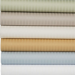 None - Premier Stripe 700 Thread Count 6-piece Sheet Set - This 700 thread-count premier pin-stripe sheet set wraps you in luxury for a beautiful night's sleep. This elegant set features a cotton polyester blend with for a soft feel and easy care in charming neutral colors to complement any decor.