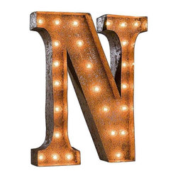 "Used 24"" Vintage Marquee Light - Letter N - Great for weddings, restaurants, bars, events, home decor, or even photo/set props. These Vintage Marquee Lights are what the ""Pickers"" dream of finding! The are carefully crafted from rusty metal to make them look authentic and antique.  Artificial wear and tear is created on each letter and wear will differ from sign to sign. Color will also vary due to naturally occurring rust.     Due to the rust, inside packaging can become dusty during transit. Open with care. Once open, shake dust off. There is a 24"" tall, 4"" deep (arrow 36"" tall) hanging bracket on back for easy wall installation. New UL Approved wiring, plugs, sockets and C9 bulbs included. 5 spare bulbs per sign also included incase of breakage during shipping. Plug into standard outlet. Indoor/outdoor use."