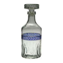 Lavish Shoestring - Consigned Blue and Gold Glass Bottle Decanter, Vintage English - This is a vintage one-of-a-kind item.