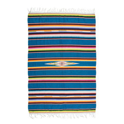 Vintage Blue Serape - Traditionally worn as a blanket-like shawl, the serape is a multifunctional textile. It can work as a rug, as a throw on cold nights, as a bleach blanket in the summer, or a seat cover in your 1940 Ford.