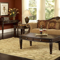 Homelegance - Homelegance Palace 3 Piece Coffee Tables Set in Brown Cherry - The Palace Collection exemplifies the best of Old World Europe. The elegant occasional table grouping features egg and dart moldings  rope twist posts and acanthus & tobacco leaf carvings and florets  the Palace Collection has it all. These many exquisite