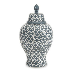 "IMAX - Layla Small Urn - The blue and white quatrefoil patterned small Layla urn adds a chic vibe to any room.  Item Dimensions: (14""h x 7.5""w x 7.5"")"