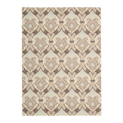 """Waverly - Waverly Wav16 Treasures WTR03 2'6"""" x 4' Birch Area Rug 23528 - A traditional stenciled Damask design claims an air of utter enchantment when presented in grand scale and revealed in inspired shades of sky blue, dove grey, pale birch and rich brown. With its intricate detailing, texture and color play, this Dress Up Damask area rug by Waverly for Nourison is both elegant and intriguing."""