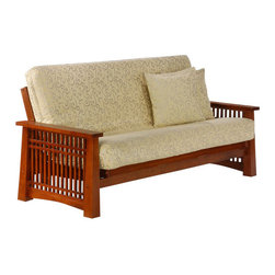 Night & Day Furniture - Night and Day Solstice Futon Frame - No Drawers - The Solstice tells the story of the woodworkers' craft. It will define any room it is in with its handsome lattice set within its robust tapered legs. A design that is as satisfying as it is beautiful. Our Premium collection wood futon frames are made strong and smart. Built with the finest plantation grown materials and constructed with traditional woodworking good sense' the Solstice is a piece of furniture that will last for years to come.