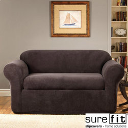 Sure Fit - Stretch Metro Two-piece Espresso Sofa Slipcover - Bring your family room or game room into the twenty-first century with this two-piece sofa slipcover. Featuring a sleek look with clean lines and an understated elegance,this espresso slipcover will complement most decorating schemes.