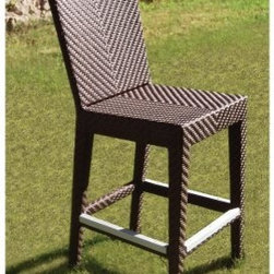 "Hospitality Rattan Soho Patio Bar Stool - Rehau Fiber Java Brown - Relax above the rest in the Hospitality Rattan Soho Patio Bar Stool - Rehau Fiber Java Brown. The fully anodized aluminum frame is woven with rehau java brown fiber for a sturdy yet stylish aesthetic. Its unique look and multi-colored textured surface make it one of the most attractive collections for any outdoor patio deck or yard space. The barstool is built to last with aluminum foot rests and is woven with commercial use in mind. Please note: This item is not intended for commercial use. Warranty applies to residential use only. About Hospitality RattanHospitality Rattan has been a leading manufacturer and distributor of contract quality rattan wicker and bamboo furnishings since 2000. The company's product lines have become dominant in the Casual Rattan Wicker and Outdoor Markets because of their quality construction variety and attractive design. Designed for buyers who appreciate upscale furniture with a tropical feel Hospitality Rattan offers a range of indoor and outdoor collections featuring all-aluminum frames woven with Viro or Rehau synthetic wicker fiber that will not fade or crack when subjected to the elements. Hospitality Rattan furniture is manufactured to hospitality specifications and quality standards which exceed the standards for residential use. Hospitality Rattan's Environmental CommitmentHospitality Rattan is continually looking for ways to limit their impact on the environment and is always trying to use the most environmentally friendly manufacturing techniques and materials possible. The company manufactures the highest quality furniture following sound and responsible environmental policies with minimal impact on natural resources. Hospitality Rattan is also committed to achieving environmental best practices throughout its activity whenever this is practical and takes responsibility for the development and implementation of environmental best practices throughout all operations. Hospitality Rattan maintains a policy of continuous environmental improvement and therefore is a continuing work in progress. Hospitality Rattan's Environmentally Friendly Manufacturing ProcessAll of Hospitality Rattan products are green. From its basic raw materials of rattan poles peels leather bamboo abaca lampacanay wood leather strips and boards down to other materials like nails staples water-based adhesives finishes stains glazes and packing materials all have minimum impact to the environment and are safe biodegradable recycled and mostly recyclable. Aside from this the products have undergone an environmentally-friendly process that makes them """"greener."""" The company's rattan components are sourced from sustained-yield managed forests which means the methods used to grow and harvest the rattan vines ensure the long-term life of the forest and protect the biodiversity of the forest's ecosystems. Hospitality Rattan is committed to buying and using all materials from rattan and hardwood to finishing materials from reputable and renewable suppliers and seeks appropriate evidence that suppliers are in compliance with this policy. Hospitality Rattan strives to use materials that are processed in an environmentally responsible manner or consist of a high level of recycled material. Finishing materials and stains used in Hospitality Rattan's furniture products consist of 75% water-based solutions which evaporate upon application with reduced or Volatile Organic Compounds (VOCs). The furniture factories use water-based glues stains topcoats and other finishes on all of their products. The switch from traditional solvent-based processes to water-based processes involved consolidating several processes by the factories resulting in an 85% reduction in VOC emissions."