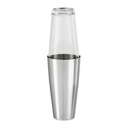 Paderno World Cuisine - 16-7/8-Ounce Boston Cocktail Shaker with Glass - The Paderno World Cuisine stainless steel cocktail shaker is comprised of two pieces: the 16 7/8 oz container and a 16 7/8 oz glass. The unit is used to mix beverages by shaking.