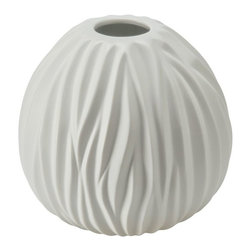 Kouboo - Ripple Porcelain Vase in White, Medium - Hand-shaped from porcelain, this vase adds an elegant touch to any setting. The vase holds water for fresh-cut roses, hydrangea, or your favorite seasonal blossoms. 1 year limited warrantyHand-shaped from PorcelainHolds water for fresh cut flowersHand wash with mild soapWeighs 6.45 lbs