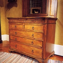 """Habersham - Habersham Sheffield Chest - It all started in the small North Georgia town of Clarkesville. It was 1969 and Habersham founder Joyce Eddy had just been given the chance to operate a small antique shop located above an old laundromat. This was just the opportunity a woman of Joyce's vision and energy would turn into the perfect blend of utility artistry and soul. Looking for ways to make her antique business more profitable she began crafting small decorative purses from vintage wooden cigar boxes. They were totally unique and they were an instant hit. Joyce named her new venture Habersham Plantation after Georgia's Habersham County and the plantations for which the area was known. The ideas just kept coming. One day Joyce was driving by a local textile company and spotted a large pile of old discarded wooden spools. Those spools were soon crafted into candleholders towel racks and folk art items. With the help of her sons and other family members Joyce expanded Habersham's offerings to include handcrafted furniture reflecting the American Country designs of the early 17th and 18th centuries. As word spread and production demands grew Joyce enlisted the help of woodworkers from her North Georgia region. This area had been a center for cabinetmaking since the early 1800s and the master craftsmen were well-schooled in the time-tested woodworking and joinery techniques that matched Joyce's sense of style and function. She even designed her factory to work just as the 18th century cabinetmakers did with individual artisans hand-finishing signing and dating each piece of furniture they crafted. Today Habersham still leads the way in the fine art of furniture design. So much so that in addition to their product line a new """"whole home"""" concept is finding its way into some of the finest dwellings in the country. Custom kitchen bath and other cabinetry designs offer rich opulent finishes and blend seamlessly with rooms of casual elegance all enhancing today's graci"""