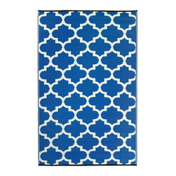 "Fab Habitat - Tangier - Regatta Blue & White (5' x 8') - ""- Woven from straws made up of recycled plastic"