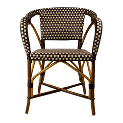Brown & Cream Mediterranean Bistro Chair with Woven Arms - These rattan-framed dining chairs with woven arms are part of the iconic French bistros of Le Midi, or the south of France. Hand-woven and artisan crafted, these French style bistro chairs in bright synthetic material, will add a pop of color to your outdoor or indoor space.