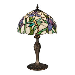 Dale Tiffany - Dale Tiffany Lamps 19 in. Prosa Antique Bronze Table Lamp TT12338 - Shop for Lighting & Ceiling Fans at The Home Depot. Light and airy our Prosa table lamp's gentle good looks will blend well in any decor in your home; The gently scalloped dome shade features a white background with green stalks of lavender and pink iris blooms. Tiffany's signature dragonflies in bright yellow and pastel green are seen flying throughout the iris blossoms. The metal base is cast with a pretty bow detail on the column and is finished in antique bronze. A perfect choice for a sunroom or nightstand Prosa's delicate beauty will be a treasured family heirloom for generations to come.
