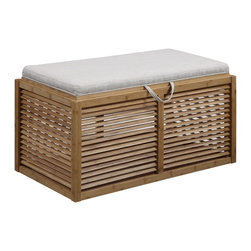 Convenience Concepts - Convenience Concepts Ottoman X-926341 - The Designs4Comfort Double Bamboo Ottoman is a perfect piece for any type of home. Featuring an all natural Bamboo body with louvered sides and a beige linen cushioned top. The removable lid provides easy acess to additional storage, and serves as a tray. Whether you're in a beach home, or your everyday home, this piece will add a touch of style and functionality that can be enjoyed for years to come.