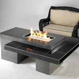 Uptown Fire pit table - Available with either our CF-1224 or CF-2424 crystal fire burner. A modern look in granite and stucco, the Uptown fire pit table is designed with clean, simple lines, and engineered to showcase a stunning glowing fire that is sure to heat up your outdoor space. This 2-tiered table is functional as well as beautiful and makes for a perfect area to entertain.