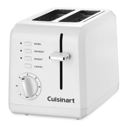 Cuisinart - Cuisinart CPT-122 2 Slice Compact Toaster Multicolor - CPT-122 - Shop for Toasters from Hayneedle.com! The ultimate in compact convenience the Cuisinart CPT-122 2 Slice Compact Toaster is designed to sit sideways or facing forward on your kitchen counter. A good example of great things coming in small packages this toaster features all the stuff you need for morning and all the stuff you love for breakfast. Good morning! Additional information: 2 extra-long slots hold bread or bagels up to 1.5 inches wide Convenient cord wrap for safety and efficiency Extra-lift carriage lever makes toasting easy Slide-out crumb tray results in painless clean-up 7 settings mean everyone can have customized toast LED touchpad for bagel defrost reheat modes; LED backlit browning dial 3-year limited manufacturer's warranty included About CuisinartOne of the most recognized names in cookware and kitchen products Cuisinart first became popular when introduced to the public by culinary experts Julia Child and James Beard. In 1973 the Cuisinart food processor revolutionized the way we create fine food and healthy dishes and since that time Cuisinart has continued its path of innovation. Under management by the Conair Corporation since 1989 Cuisinart is a universally celebrated name in kitchens across the globe. With a full-service product line including bakeware blenders coffeemakers cookware countertop appliances kitchen tools and much much more Cuisinart products are preferred by chefs and loved by consumers for durability ease of use superior quality and style.