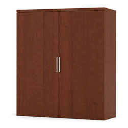Bestar - Pro-Linea Cabinet For Lateral File in Cognac Cherry - Pro-Linea has all the elements to create a modern and refined work environment. The clean lines of this collection bring a fresh look without compromising functionality and durability. The cabinet offers two shelves, one of which is adjustable. This unit must sit on the Pro-Linea lateral file. This unit meets or exceeds ANSI/BIFMA performance standards. Also available in White finish.