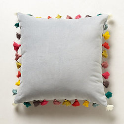 Anthropologie - Firenze Velvet Tassel Pillow, Light Gray - I love the contrast between the classic gray velvet of this pillow and the whimsical colored tassels that encircle it.