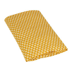 Sunshine Flower Fitted Organic Crib Sheet - Here's another sunny option for a crib sheet. The golden yellow will pop against the white crib and blue walls.