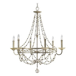 Progress Lighting - Progress Lighting P4443-34 Chanelle 6 Light Chandelier In Antique Silver - Progress Lighting P4443-34 Chanelle 6 Light Chandelier In Antique Silver