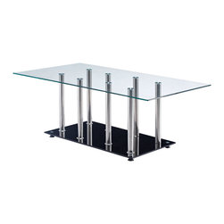 Global Furniture - Global Furniture USA T368 Rectangular Glass Coffee Table - This modern coffee table is made of tempered glass and is finished in black. The chrome accents makes this table a focus point for any living room.