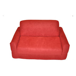 Fun Furnishings - Fun Furnishings Micro Suede Sofa Sleeper w/ Pillows in Red - The sofa and chair sleepers are the perfect place to sit to read  watch TV or play a game. When it is time to take a nap or find a place for a little friend to spend the night  flip open the chair or sofa   add a blanket and pillow and you are all set. Grandparents love having one at their home too. Built-in Durability. We've worked hard to make our furniture durable and help it retain its appearance. We use high-density foam to make the furniture hold up to the tough use it receives from kids. We include a layer of fiber on the seating surfaces to keep the fabric tight much longer.