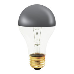 Bulbrite - Clear Half Chrome A-Shape Light Bulbs - 12 Bu - One pack of 12 Bulbs. 120 V incandescent E26 base A19 type bulb. 360 degree beam spread. Dimmable. Half chrome mirrored bulb to reflect light back towards the base of the bulb. Perfect for open fixtures, pendants, restaurant and retail lighting. Light that reflects back up towards the fixture. Ideal for use in decorative lighting. Wattage: 60 W. Color temperature: 2700 K. Color rendering index: 100. Average hours: 1500. Maximum overall length: 4.25 in.