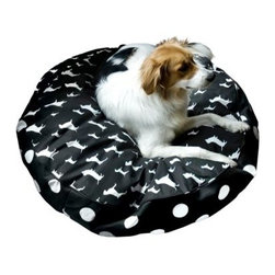 Scout Deluxe Round Dog Bed - Your pooch will love curling up and taking naps on Scout Deluxe Round Dog Bed. The removable machine-washable cover complete with hidden zipper is made from heavy-duty cotton or micro-fiber depending on color. In certain color choices a top panel of plush Sherpa is also available. Filled with 100% post-consumer recycled plastic poly-fiber fill for maximum comfort and eco-friendliness. Double-sewn boxed edges are finished with decorative cording preventing chewing or destruction. The structured silhouette provides a formal twist to the traditional pillow-style design. Cover is proudly made in the USA. Choose from the following sizes: Extra Small dimensions: 24L x 24W x 5H inches Small dimensions: 30L x 20W x 5H inches Medium dimensions: 36L x 36W x 6H inches Large dimensions: 42L x 42W x 6H inches