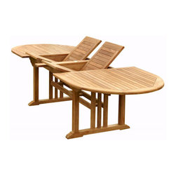 """Anderson - Bahama 117"""" Oval Extension Table w/ Double Extensions - This massive Bahama Oval Extension Teak Table stands 29"""" high x 43"""" wide x 78"""" long, opening to 117"""" and seats 8 to 10 people."""
