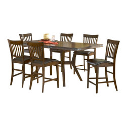 Hillsdale Furniture - Hillsdale Arbor Hill 7-Piece Counter Height Set - Charm your guests with Hillsdale Furniture's Arbor Hill counter height dining collection. Too modern to be country, but to rustic to be contemporary, with a classic mission styled non-swivel stool and an unusual symmetrically sculpted table base, the Arbor Hill is a perfect blend of cozy and chic. Featuring a rich colonial chestnut finish, oil rubbed bronze decorative accents, versatile and comfortable brown leather waterfall seats and a butterfly leaf extension table, this ensemble will become the dining and entertainment center in your home. Composed of solid wood.
