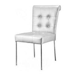Dress Up Your Holiday - A plush and decadent old world style gets a modern updating. The chair has a soft leatherette seat and back, with tufting and buttons on the back, all sitting on a chrome steel tube frame.