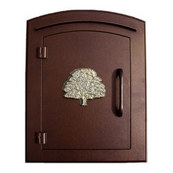Qualarc, Inc. - Manchester Mailbox, Oak Tree Logo, Antique Copper - This decorative cast aluminum mailbox insert can be matched with an optional newspaper holder or address plaque. The doors are sealed against the weather and its 22 gauge steel masonry box is electro-galvanized and powder coated to last.