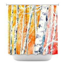 DiaNoche Designs - Shower Curtain Artistic - Falling For Colour - DiaNoche Designs works with artists from around the world to bring unique, artistic products to decorate all aspects of your home.  Our designer Shower Curtains will be the talk of every guest to visit your bathroom!  Our Shower Curtains have Sewn reinforced holes for curtain rings, Shower Curtain Rings Not Included.  Dye Sublimation printing adheres the ink to the material for long life and durability. Machine Wash upon arrival for maximum softness. Made in USA.  Shower Curtain Rings Not Included.