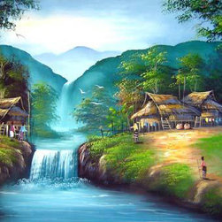 Oriental-Décor - Eastern Falls - Set in the mountains of northern Thailand, this Asian masterpiece features a small Thai village along a streaming river. Brighten any room while creating an Asian decorative look with this fabulous Oriental painting.