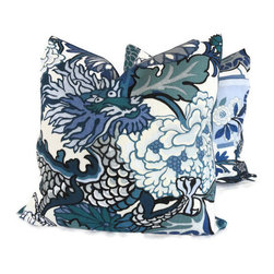 Pop O Color - Pair of Schumacher Chiang Mai Dragon Pillow Covers, China Blue, 20x20 - Add a Pop O Color to your decor with this pair of Chiang Mai Dragon pillow covers. If your room is in need of a statement piece this is it. This gorgeous heavy weight linen fabric has wonderful rich colors: reds, oranges, blues, greens and browns on an mocha brown background. It is one of Schumacher's new fabrics but its style will endure forever. Chiang Mai Dragon was originally derived from an exuberant 1920s Art Deco era block print. The pattern is table printed on a linen ground.