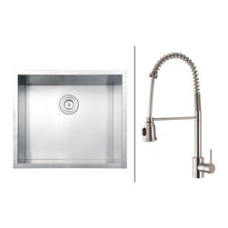 Ruvati - Ruvati RVC2598 Stainless Steel Kitchen Sink and Stainless Steel Faucet Set - Ruvati sink and faucet combos are designed with you in mind. We have packaged one of our premium 16 gauge stainless steel sinks with one of our luxury faucets to give you the perfect combination of form and function.