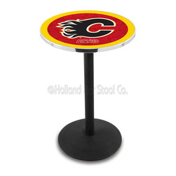Holland Bar Stool - Holland Bar Stool L214 - Black Wrinkle Calgary Flames Pub Table - L214 - Black Wrinkle Calgary Flames Pub Table  belongs to NHL Collection by Holland Bar Stool Made for the ultimate sports fan, impress your buddies with this knockout from Holland Bar Stool. This L214 Calgary Flames table with round base provides a commercial quality piece to for your Man Cave. You can't find a higher quality logo table on the market. The plating grade steel used to build the frame ensures it will withstand the abuse of the rowdiest of friends for years to come. The structure is powder-coated black wrinkle to ensure a rich, sleek, long lasting finish. If you're finishing your bar or game room, do it right with a table from Holland Bar Stool.  Pub Table (1)