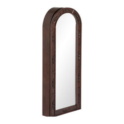 """Holly & Martin - Holly & Martin Madelyn Wall-Mount Jewelry Armoire Dark Cherry X-50-3-950-061-75 - Stop digging through a cluttered jewelry box and get organized with this lovely wall mount jewelry armoire. A dark cherry finish accentuates the character and grain of this traditional arch top armoire. A decorative appliqu&#233: pattern is repeated along the face of the door. Black felt and an assortment of jewelry storage options line the inside. Light imperfections in the form of manufactured wormholes and weathered scratches may be found on this unit. These imperfections give the appearance of long-lived family heirloom and add to the character and charm of this beautiful armoire. The door has a keyed lock on the right side to secure your valuables. Perfect for bedroom, bathroom, walk-in closet, or entryway, this jewelry armoire will be a beautiful addition to your home. - 17"""" W x 5.25"""" D x 47"""" H - Dark cherry finish - Beveled mirror - Double hooks for hanging necklace and bracelet sets - Flat hooks for hanging multiple slender necklaces - Single hooks for bracelets - Multiple cushioned rows of ring storage - Several racks of storage for hoop and hook earrings - Removable storage tray for stud earrings and other accessories - Locking door with decorative key - No assembly required"""