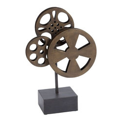 Benzara - Metal Movie Reel Elegant Accessory For Conference Room - If you are looking for low cost but rare to find elsewhere decor item to bring extra galore that could refresh the decor appeal of short spaces on tables or shelves, beautifully carved 51617 METAL MOVIE REEL may be a good choice.